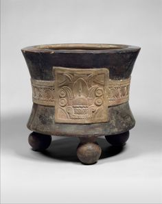 Aztec tripod vessel with date glyph, 15th–early 16th century. Ceramic, H. 14 1/8 x Diam. 16 in. (35.9 x 40.6 cm)