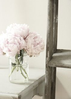 Peonies in a jar you could probably find around the house.. Cute!