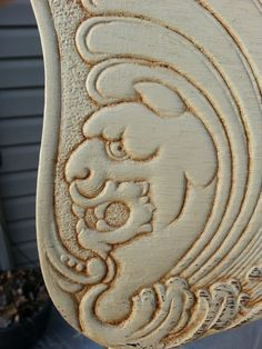 lion detail~milk paint restyled pressed back chair