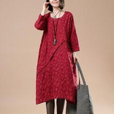 Women Cotton Linen Loose Autumn Dress