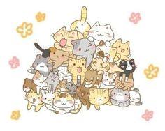 Cute kawaii cats -- pile of kitties! Chat Kawaii, Kawaii Cat, Kawaii Stuff, I Love Cats, Crazy Cats, Cute Cats, Chibi Neko, She And Her Cat, Dibujos Cute