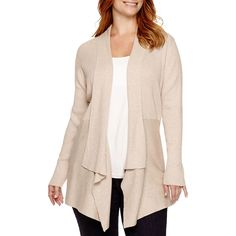 St. John's Bay Long-Sleeve Ribbed Flyaway Cardigan ($48) ❤ liked on Polyvore featuring plus size fashion, plus size clothing, plus size tops, plus size cardigans, plus size, cotton cardigan, cotton shawl collar cardigan, layering cardigans, womens plus tops and pink plus size tops