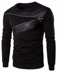 Longsleeve stylischer Designer Sweater Pulli -Leder-Imitat m. Zip Gr. S NEU-OVP
