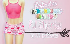 """nirliasims: """" PJ Shorts Recolors These are the base game shorts I wanted to make them look more cute with these cute patterns. They're supposed to be Pj's shorts but use them the way you like. """"..."""
