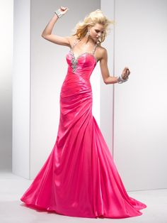 Sheath Halter Sweetheart Neckline Beaded Strap Ruched Bodice Satin Prom Dress-sop0071, $222.95