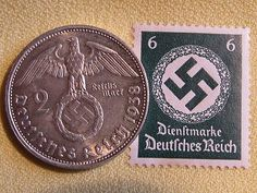 Old German Nazi War Coin during WWII and a Rare stamp.