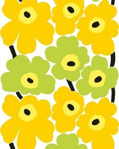 Designed by Maija Isola 1965, this is perhaps the most popular Marimekko fabric pattern of all time. UNNIKO consists of bold and happy flowers, and it comes in a slew of colorways. Since I have a tablecloth in this palette, this one is my pick.