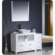 Pictures In Gallery Fresca Torino inch White Modern Bathroom Vanity with Side Cabinet and Vessel Sink