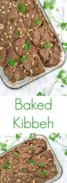Baked kibbeh, a traditional Lebanese dinner recipe, is made with ground beef or lamb combined with bulgur wheat, pine nuts and warm spices like cinnamon and allspice.