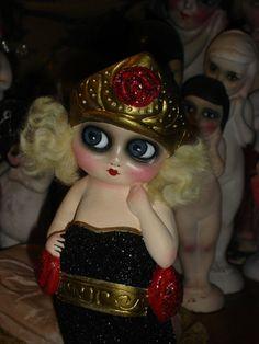Vintage Chalkware Flapper Carnival Kewpie Doll by flapperdashery