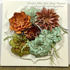 Stampin' Up!'s Succulents are so cool!  This framed art was made with Stampin' Up!'s Succulent Framelits.  #stampinup #stamptherapist www.stampwithjennifer.blogspot.com