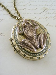 Locket Necklace FROG   Vintage Brass by chloesvintagejewelry, $48.00