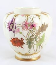 "BEAUTIFUL 1890 ANTIQUE HAND PAINTED ROYAL WORCESTER CHINA 5"" VASE GOLD FLOWERS"