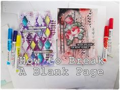 How to Break A Blank Page Mixed Media Art Journaling part7 ♡ Maremi's Sm...