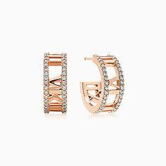 Atlas® open hoop earrings in 18k rose gold with diamonds, small.