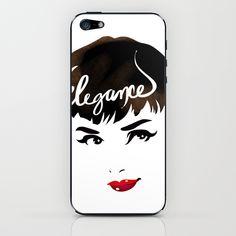 Bombshell Series: Elegance - Audrey Hepburn iPhone & iPod Skin by Whitney Pollett   Society6