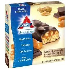 Atkins Advantage Bar Caramel Chocolate Peanut Nougat -- 5 Ba Atkins Diet Top Diets Diet