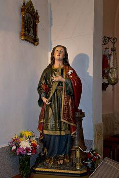 Santa Bárbara en la Iglesia parroquial de Santa Bárbara de San Martín del Rey Aurelio, Asturias