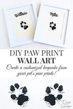 How cute is this DIY paw print wall art? What an adorable memento for their little paw prints. I so need to do this with my dogs! | decorbytheseashor...