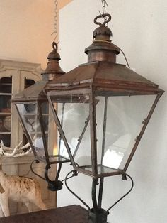 Shop chandeliers and pendants and other antique, modern and contemporary lamps and lighting from the world's best furniture dealers. Modern Lanterns, Copper Lantern, House Lamp, Antique French Furniture, Led Outdoor Wall Lights, Painted Chest, Vintage Chandelier, Contemporary Lamps, Candle Lanterns