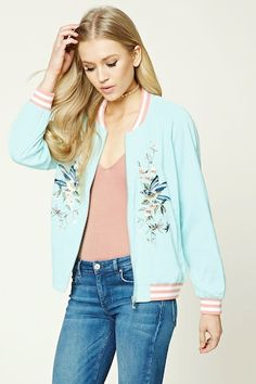 ea4c7d58db1d A satin woven bomber jacket featuring an ornate floral and bird embroidery