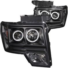 Ford F150 2009-2013 Black Projector Headlights with CCFL Halo and LED