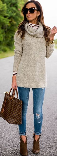 Camel Suede Booties Ripped Skinnies Striped Top Beige Cowl Neck Sweater Fall Inspo by Sequins & Things