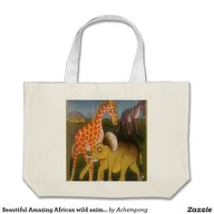 Beautiful #Amazing African wild animal safari color Large Tote Bag