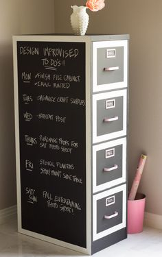 Chalkboard painted file cabinet - creative!