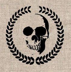 "Wreath and Skull Stencil - 8"""