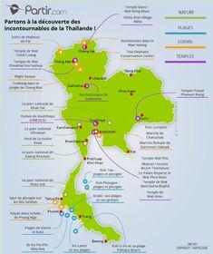 Carte des régions THAILANDE Chiang Rai, Phuket, Île Phi Phi, Thai Elephant, Site Archéologique, Excursion, Destinations, Road Trip, Temples