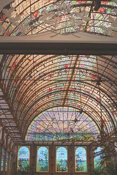 Art nouveau winter garden : dome in stained glass Wavre-Ste-Catherine, Antwerp, Belgium