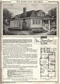 Single story modern hipped roof bungalow 1918 harris for Pacific homes kit homes