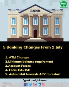 Due to the coronavirus pandemic induced lockdown some changes/relief was provided by the government on banking services upto June. Here are some banking changes applicable from 1 July 2020 that you should note: 1. ATM Charges  2. Minimum balance requirement  3. Account Freeze: A bank account may become frozen if the banking customer fails to submit documents needed to continue the banking services.  4. Form 15G/15H: The investors who are required to submit the Form-15G/Form-15H for lower or… Banking Services, Bank Account, Investors, Freeze, Fails, Accounting, June, Change, Instagram