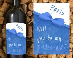 Will you Be My Bridesmaid Wine Labels,  Personalized Wedding Gift, Wedding Labels Asking Bridesmaid, Will You Be My Maid of Honor Wine Label by TwoCrewDesign on Etsy