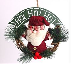 Red cherry 20cm Santa Claus snowman Christmas wreath for doors windows decorationsanta claus -- Learn more by visiting the image link.