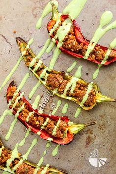 Stuffed Anaheim Peppers w/Creamy Cilantro Sauce recipe, using my Savory Walnut Sun-Dried Tomato Crumble! #vegan #glutenfree   www.vegetariangastronomy.com