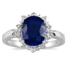 2.50 Carat Sapphire and Diamond Royal Princess Di Ring in .925 Sterling Silver - PRR12750SP7.0