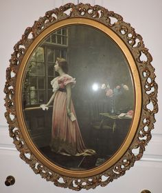 Antique VICTORIAN Romantic WOMAN In PINK Dress CARVED Oval Frame 16 X 20 C1890s