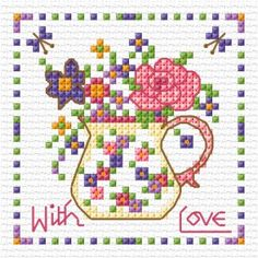 Sweet flowers with love free cross stitch chart