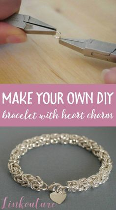 Make your own beautiful DIY heart charm bracelet using the Byzantine weave.