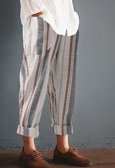 46ca7dcfdcf ZANZEA 2018 Summer Women Striped Pants Elastic High Waist Cotton Linen Pants  Harem Pantalon Femme Trousers Streetwear Plus Size