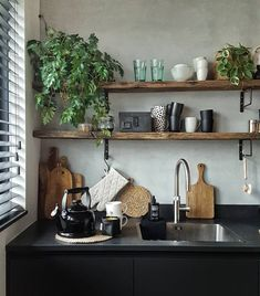 47 cute and small kitchen design ideas 37 - 221 Recipes Modern Kitchen Cabinets, Kitchen Shelves, New Kitchen, Kitchen Decor, Sweet Home, Küchen Design, Design Ideas, Interior Design Kitchen, Interior Ideas