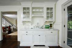 white kitchen glass cabinets via decor pad muse interiors