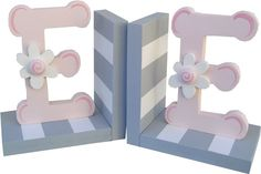 grey and pink initial bookends! So cute!