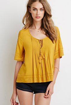 Embroidered Pintucked Blouse | Forever 21 - 2000078695