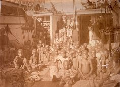 People Trafficking Description: East African enslaved people rescued by the British naval ship, HMS Daphne. Date: 1869