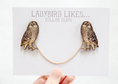 Owl Wooden Collar Clips by ladybirdlikes on Etsy
