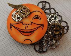 Steampunk Altered Art Moon Face Brooch or Scarf Pin Wood Handmade NEW Fashion #handmade #AlteredArt https://www.ebay.com/itm/162850817092