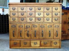 Modular+30+Drawer+Solid+Oak+Library+Card+Catalog+by+MerlesVintage,+$1,750.00